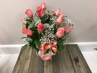 Dozen Peach Roses in Ivy Bowl  In Louisville, KY, In Kentucky, Schmitt's Florist