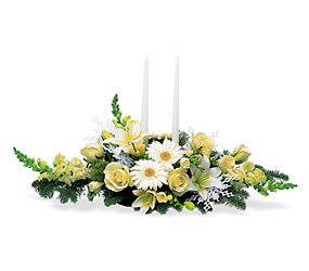 Two White Taper Centerpiece In Louisville, KY, In Kentucky, Schmitt's Florist