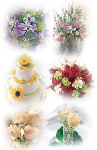 Shown here are a few ideas for your wedding, including (clockwise from the top left): a bouquet featuring blue, lavender and yellow hues; a large urn overflowing with pink and white hues; sunny yellow accents to a lovely wedding cake; a bouquet featuring vibrant red hues; a clutch bouquet of cream roses perfect for a bridesmaid; and a charming vase of roses for a reception table.